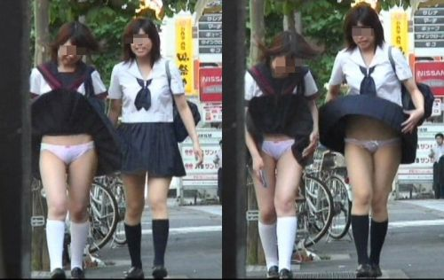 JKのスカートが舞い上がる神風パンチラが芸術的なエロ画像 36枚 No.15