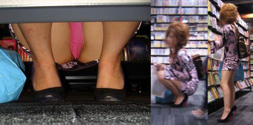 【ビデオ店盗撮画像】ミニスカ娘の棚下パンチラが股間むき出しwww 32枚 No.21
