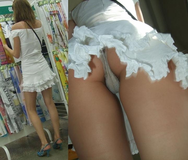 スカートの中でぽちゃなお尻に食い込んでる逆さ撮り秘密撮影写真 31枚