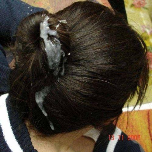 お姉さんの綺麗な髪の毛を汚したい!ザーメンぶっかけ髪射画像 39枚 No.3