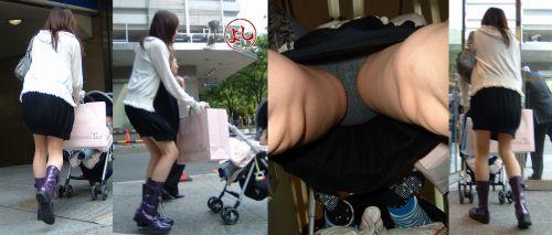 子供を連れたママの太ももや股間を逆さ撮りしたパンチラエロ画像 35枚 No.16
