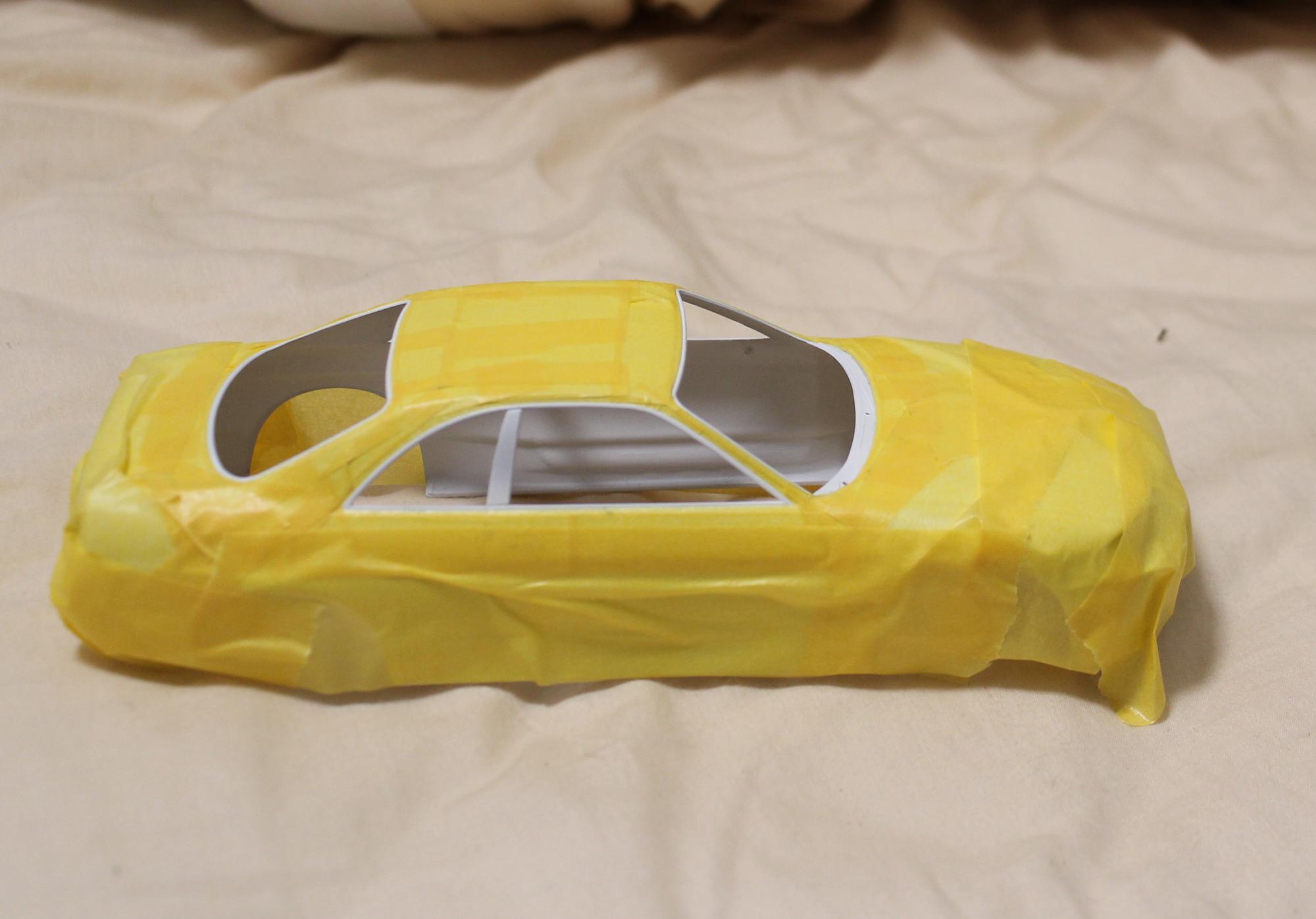 R33窓枠塗装マスキング再