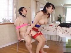 沖田杏梨 イスに拘束したM男を強制騎乗位で犯しちゃうパーフェクトボディな爆乳美痴女!