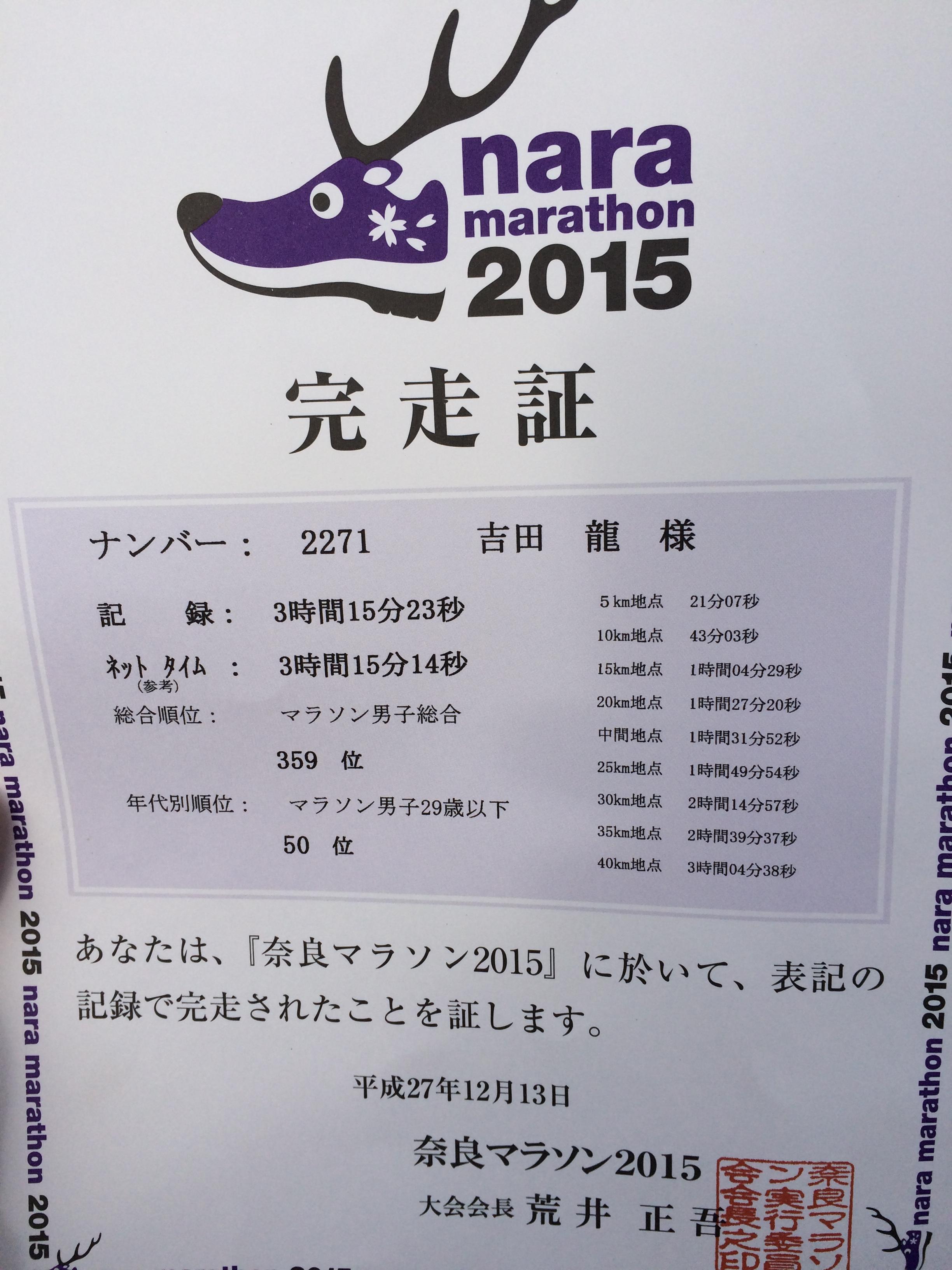 奈良マラソン完走証