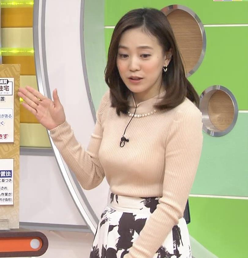 江藤愛 ニットおっぱい、大きさが目立つ。
