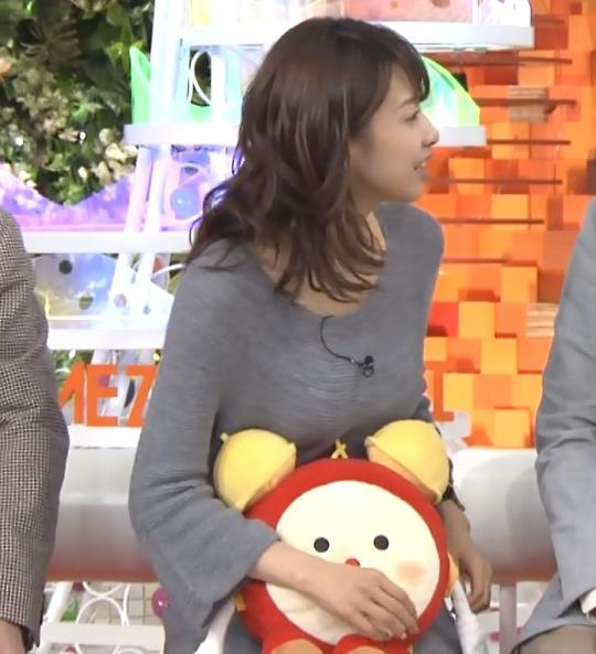 加藤綾子 ぬいぐるみが当たっているおっぱいがエロい