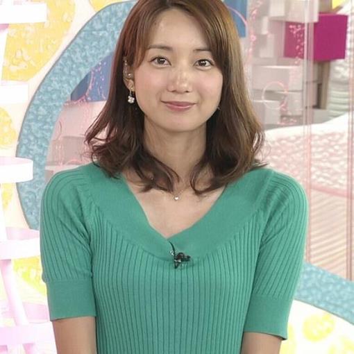 【エロ画像】小野彩香 緑のニットワンピース