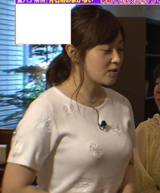 【有名人,素人画像】水卜麻美 白いTシャツでブラ透け?インナー透け?