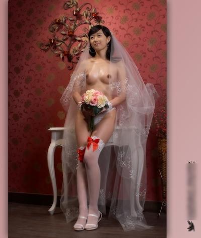 美乳な韓国新婚美女のウェディングヌード画像4