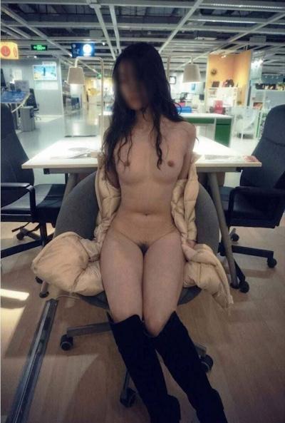 IKEA北京店 全裸露出プレイ 中国素人女性 ヌード画像 14