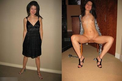 西洋熟女の着衣時とヌードの比較画像 1
