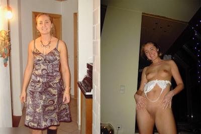 西洋熟女の着衣時とヌードの比較画像 3