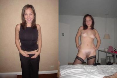 西洋熟女の着衣時とヌードの比較画像 5