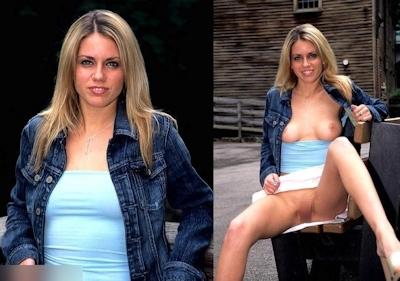 西洋熟女の着衣時とヌードの比較画像 9