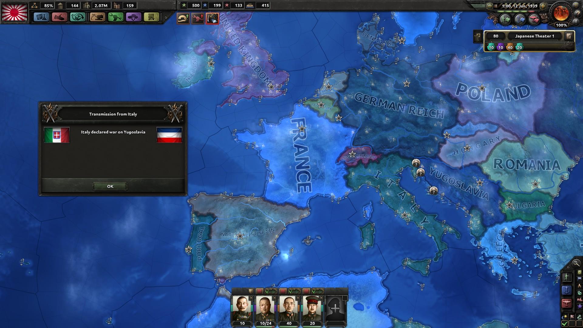 HoI4イタリアユーゴ戦争勃発