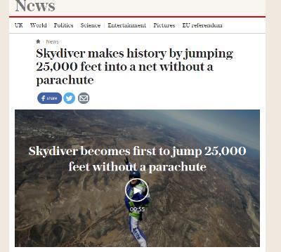 パラシュートなしでスカイダイビング成功