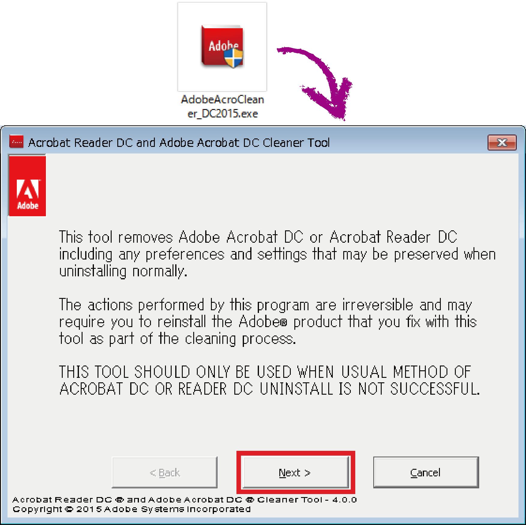 AdobeAcroCleaner_DC2015プログラム画面1