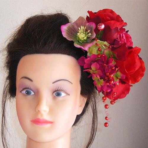 ローズとシンビジウムと紫陽花の結婚式髪飾り