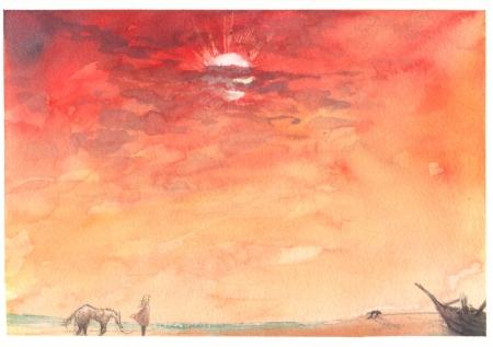 ノルマンディ、夕陽、オスカルと馬、廃船、野良犬