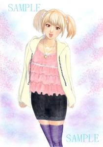 桜と少女 全体