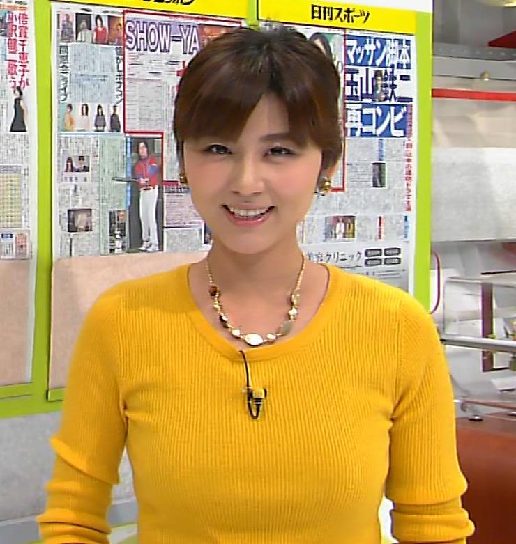 宇賀なつみ セーターのおっぱいキャプ画像(エロ・アイコラ画像)