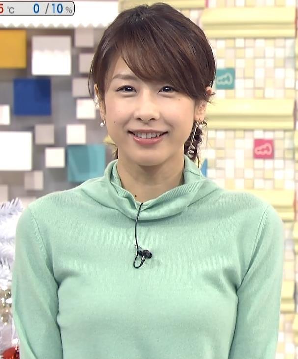 加藤綾子 若草色のタートルネックキャプ画像(エロ・アイコラ画像)