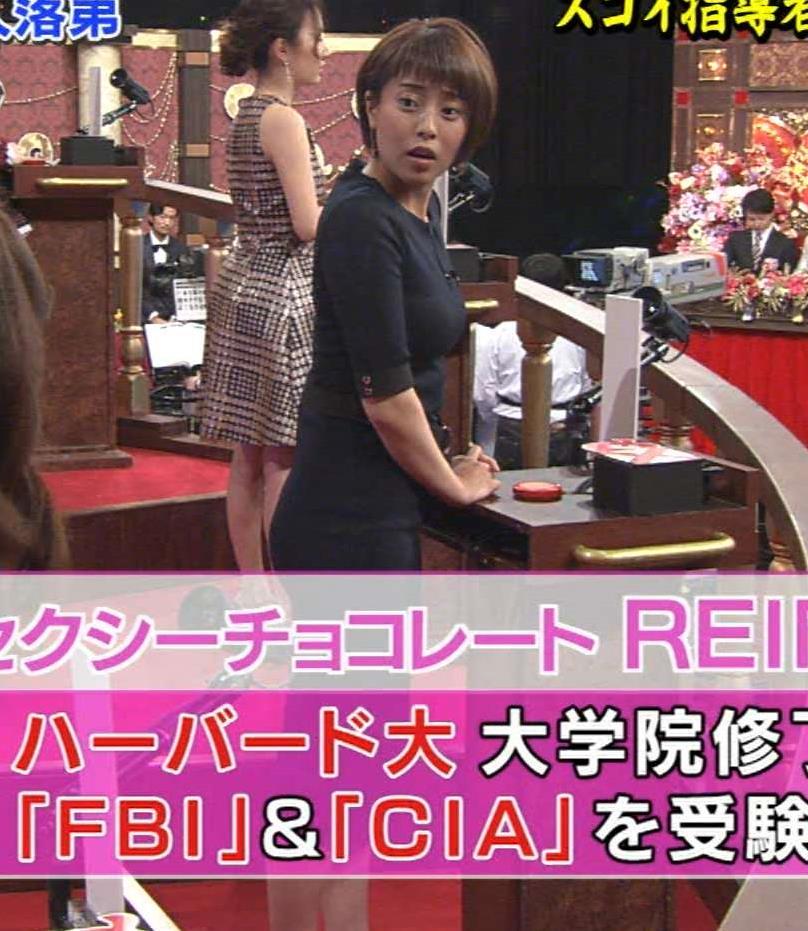 上田まりえ 「Qさま!!」出演時のタイトなワンピースがエロ過ぎキャプ画像(エロ・アイコラ画像)