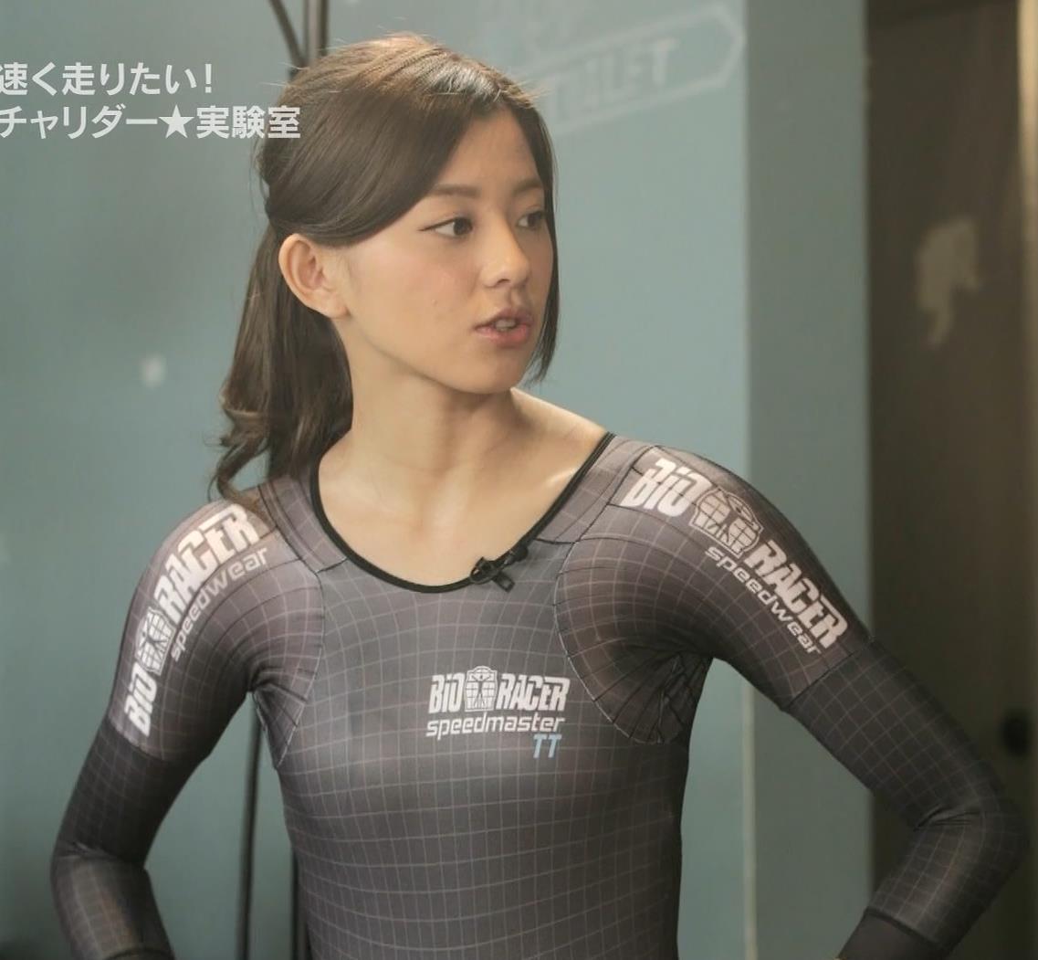 朝比奈彩 水着よりエロい自転車エアロスーツキャプ画像(エロ・アイコラ画像)