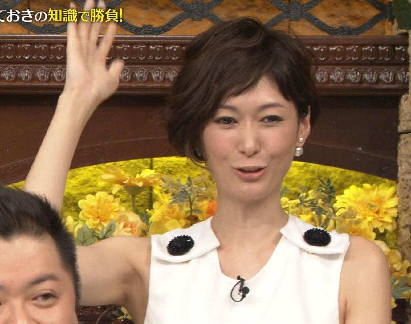 田丸麻紀 ノースリーブで腕を上げワキがみえるキャプ画像(エロ・アイコラ画像)