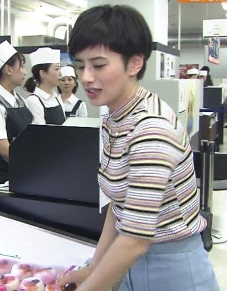 ホラン千秋 ボーダーの服で巨乳が目立っていたキャプ画像(エロ・アイコラ画像)