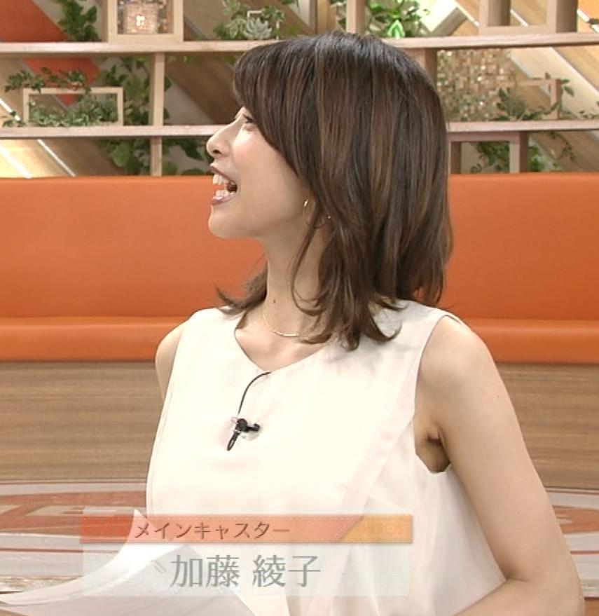加藤綾子 ノースリーブのワキがエロかったキャプ画像(エロ・アイコラ画像)