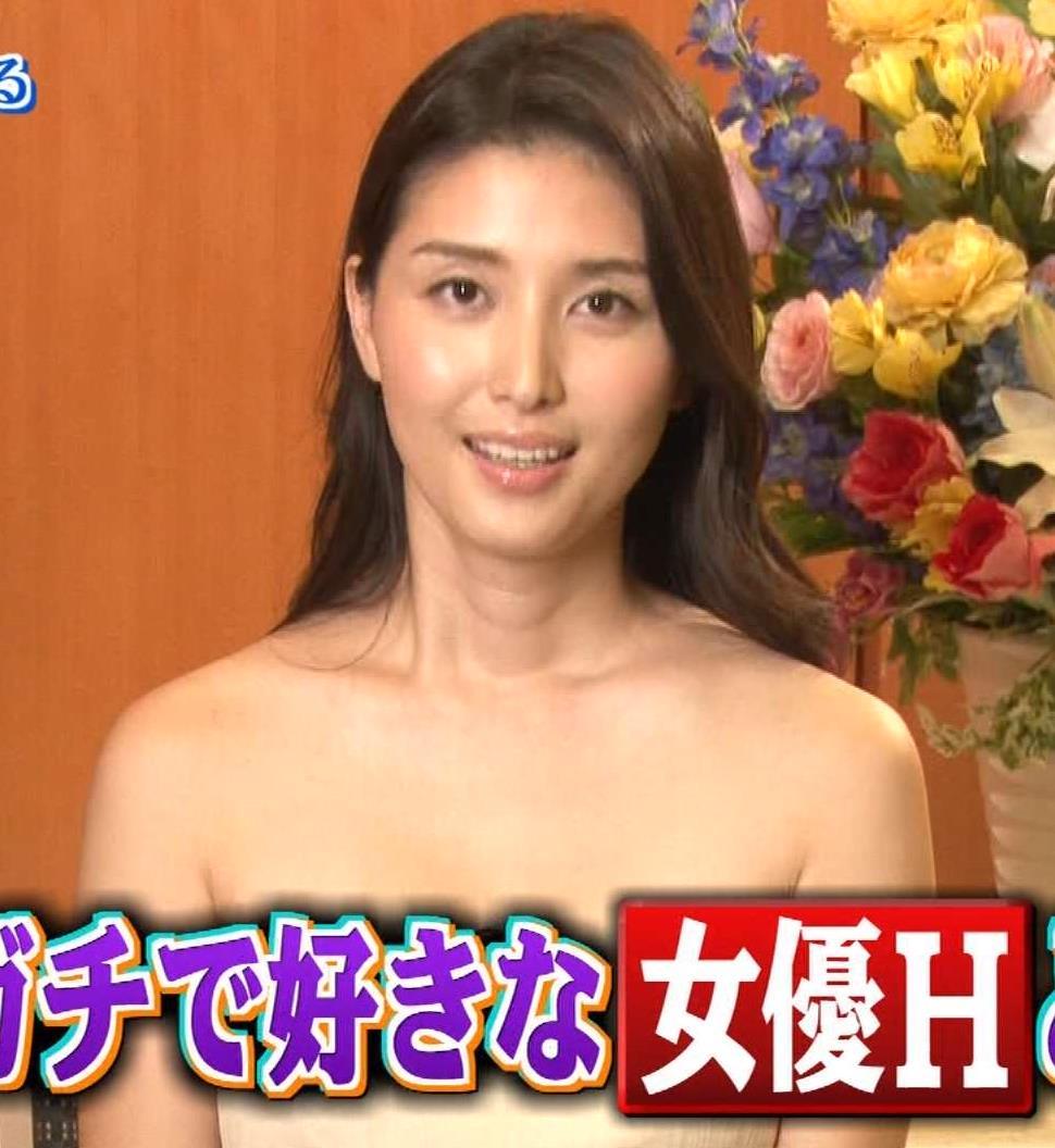 橋本マナミ 裸に見えるチューブトップキャプ画像(エロ・アイコラ画像)